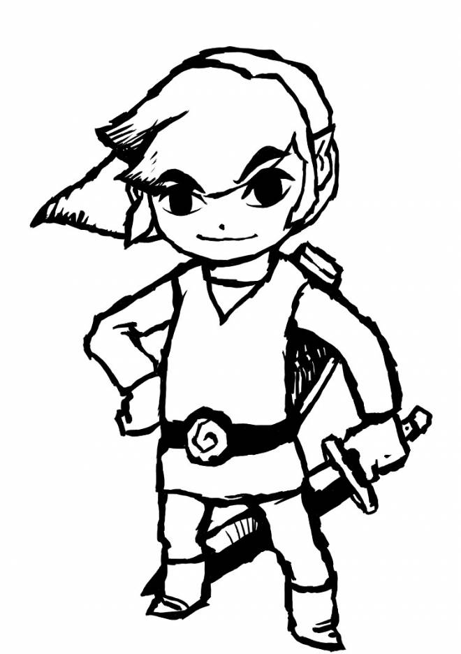 Free coloring and drawings Zelda Link in black and white Coloring page