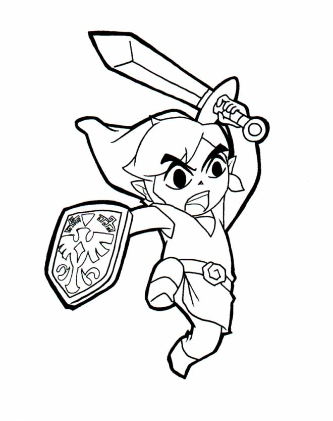 Free coloring and drawings Zelda Link with his Sword Coloring page