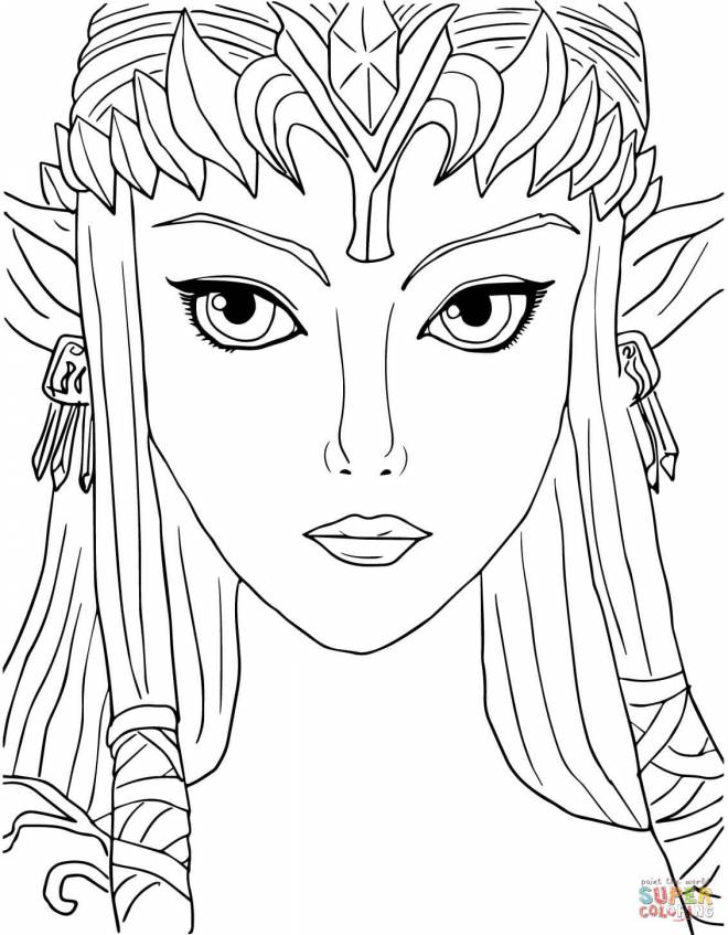 Free coloring and drawings Zelda's head Coloring page