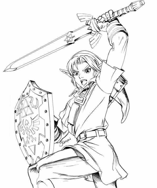 Free coloring and drawings Zelda Warrior Coloring page