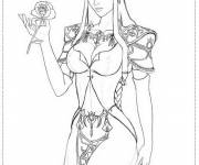 Coloring pages Zelda wears a Flower