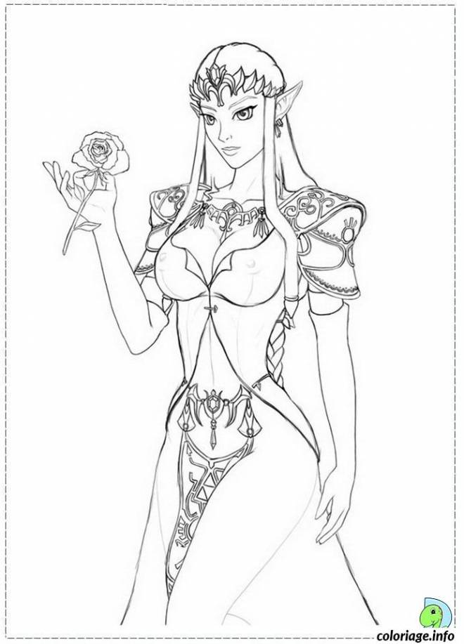 Free coloring and drawings Zelda wears a Flower Coloring page