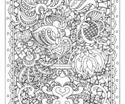 Coloring pages Adult Flowers in a Table
