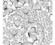 Coloring pages Adult Garden and Butterfly