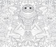 Coloring pages Owl and Garden