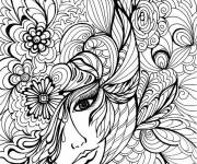 Coloring pages Vector adult woman