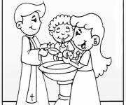 Coloring pages Baptism in color