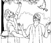 Coloring pages Jesus and the Pigeon