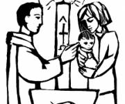 Coloring pages Religious baptism to cut out