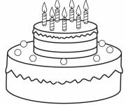 Coloring pages Birthday cake to cut