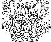 Coloring pages Black and white birthday cake