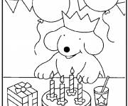 Coloring pages Children's Dog Birthday