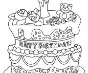 Coloring pages Gorgeous Birthday Cake