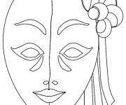 Coloring pages Mask for Venice Carnival