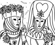 Coloring pages Venice Carnival