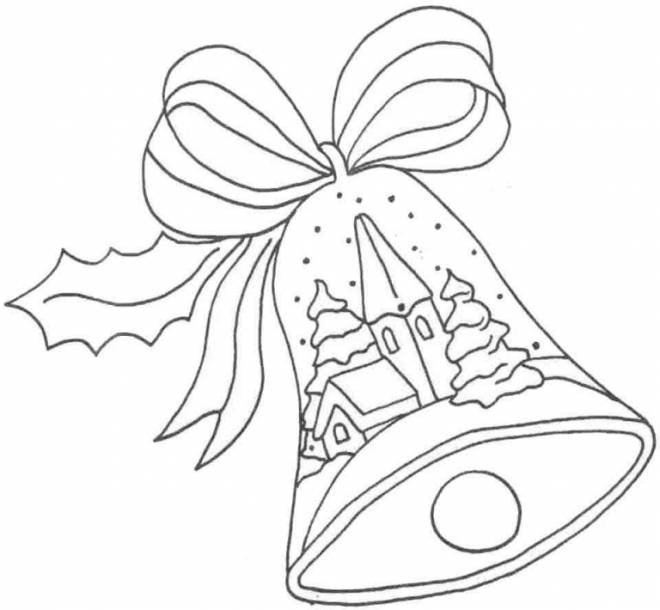 Free coloring and drawings Christmas bell online Coloring page