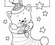 Free coloring and drawings Kitten in Christmas stocking Coloring page