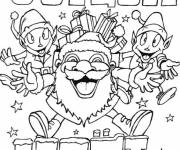 Free coloring and drawings Merry christmas elves Coloring page