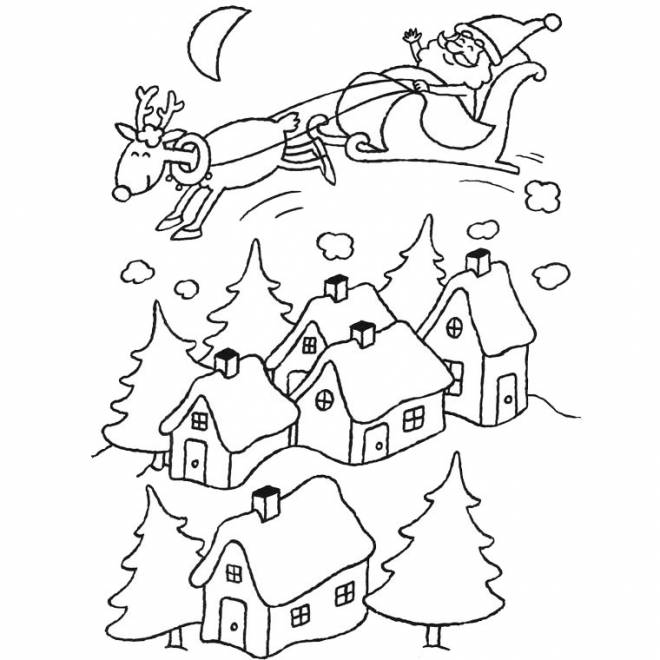 Free coloring and drawings Santa Claus in the sky Coloring page