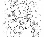 Free coloring and drawings Snowman and his rabbit friends Coloring page