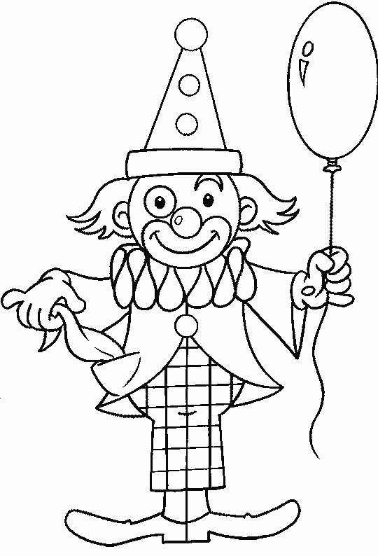 Free coloring and drawings A balloon in the clown's hand Coloring page
