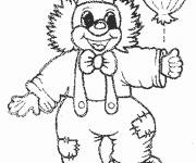 Free coloring and drawings A clown and a balloon Coloring page