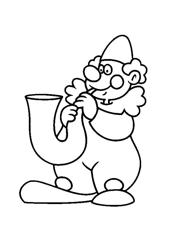 Free coloring and drawings A clown and the trumpet Coloring page
