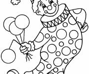 Free coloring and drawings A clown is holding balloons Coloring page