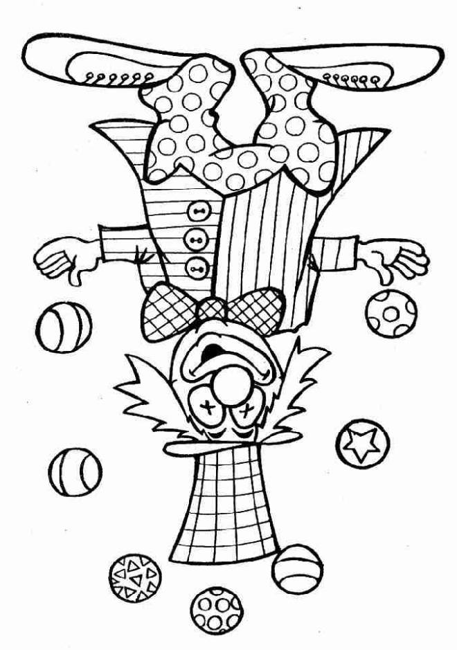Free coloring and drawings A clown juggling with seven round balls Coloring page