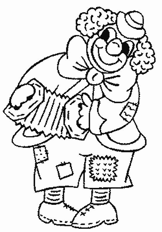 Free coloring and drawings A clown playing the accordion Coloring page