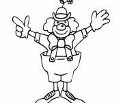 Free coloring and drawings A clown raises his hands Coloring page