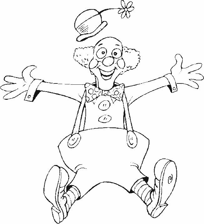 Free coloring and drawings A hilarious clown Coloring page