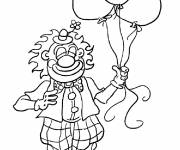 Coloring pages A smiling Clown carrying Balloons
