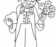 Coloring pages Clown carrying flowers