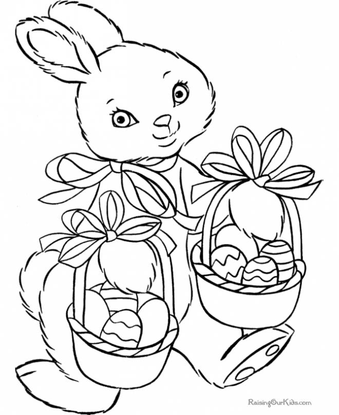 Free coloring and drawings A beautiful Easter Bunny Coloring page