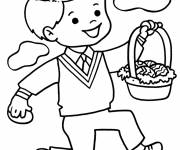 Coloring pages A boy carries a basket of Easter eggs