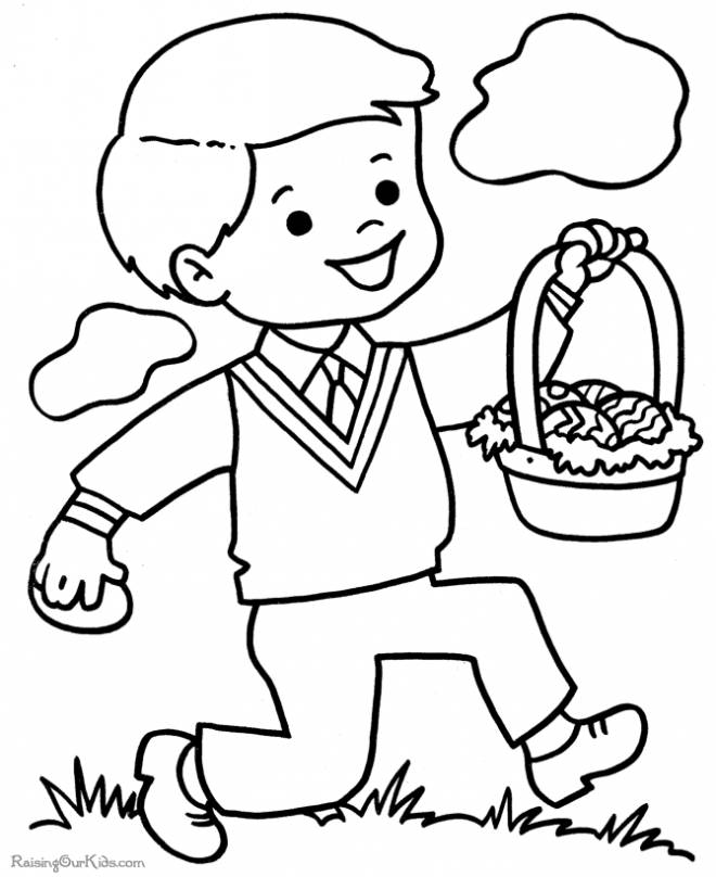 Free coloring and drawings A boy carries a basket of Easter eggs Coloring page