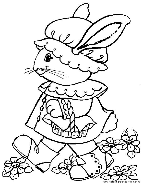 Free coloring and drawings A funny Easter Bunny Coloring page