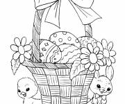 Coloring pages Basket of well decorated eggs