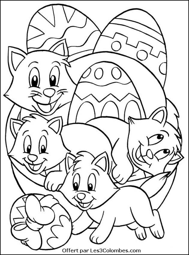 Free coloring and drawings Cats and Easter Eggs Coloring page