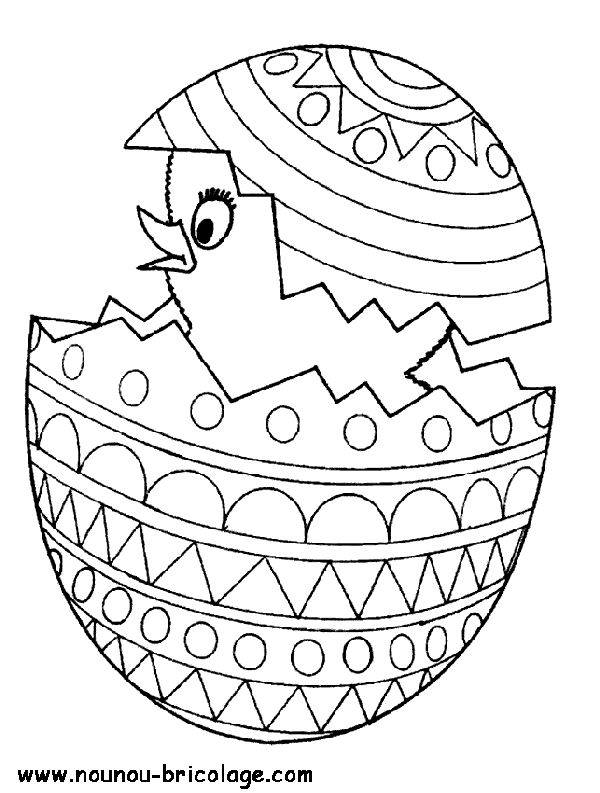 Free coloring and drawings Chick emerging from Easter egg Coloring page