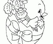 Coloring pages Chick in Easter Egg