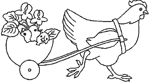 Free coloring and drawings Chicken and its maternal chicks Coloring page