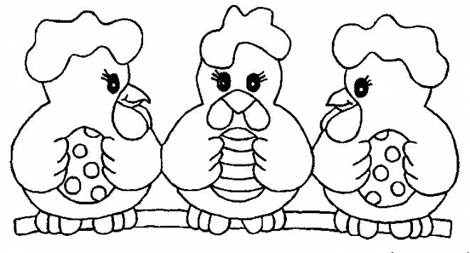 Free coloring and drawings Chickens with Eggs decorated for Easter Coloring page