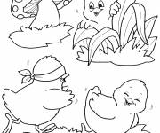 Coloring pages Chicks have fun in the garden