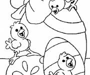 Coloring pages Chicks on Egg decorated with Bow