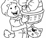 Coloring pages Child and his cat with the Easter egg