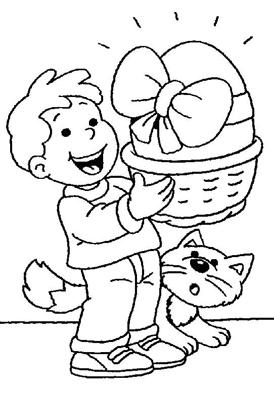 Free coloring and drawings Child and his cat with the Easter egg Coloring page