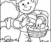 Coloring pages Child collecting eggs