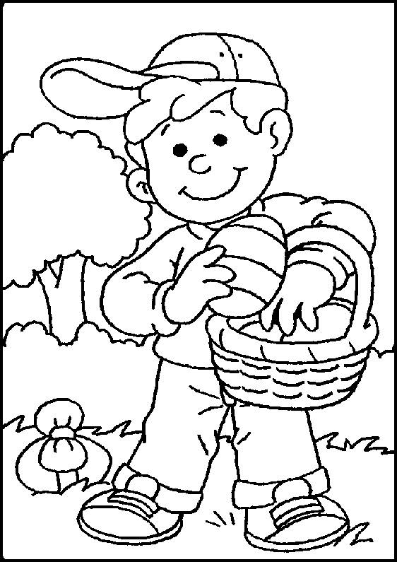 Free coloring and drawings Child collecting eggs Coloring page